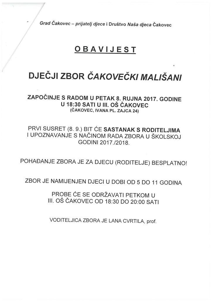 Obavijest o radu Dječjeg zbora Čakovečki mališani u godini 2017./2018.