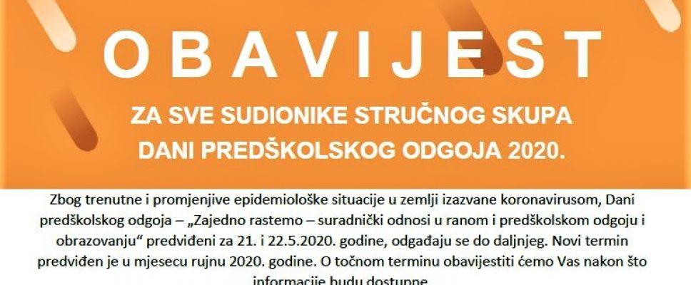 OBAVIJEST- DANI PREDŠKOLSKOG ODGOJA 2020.